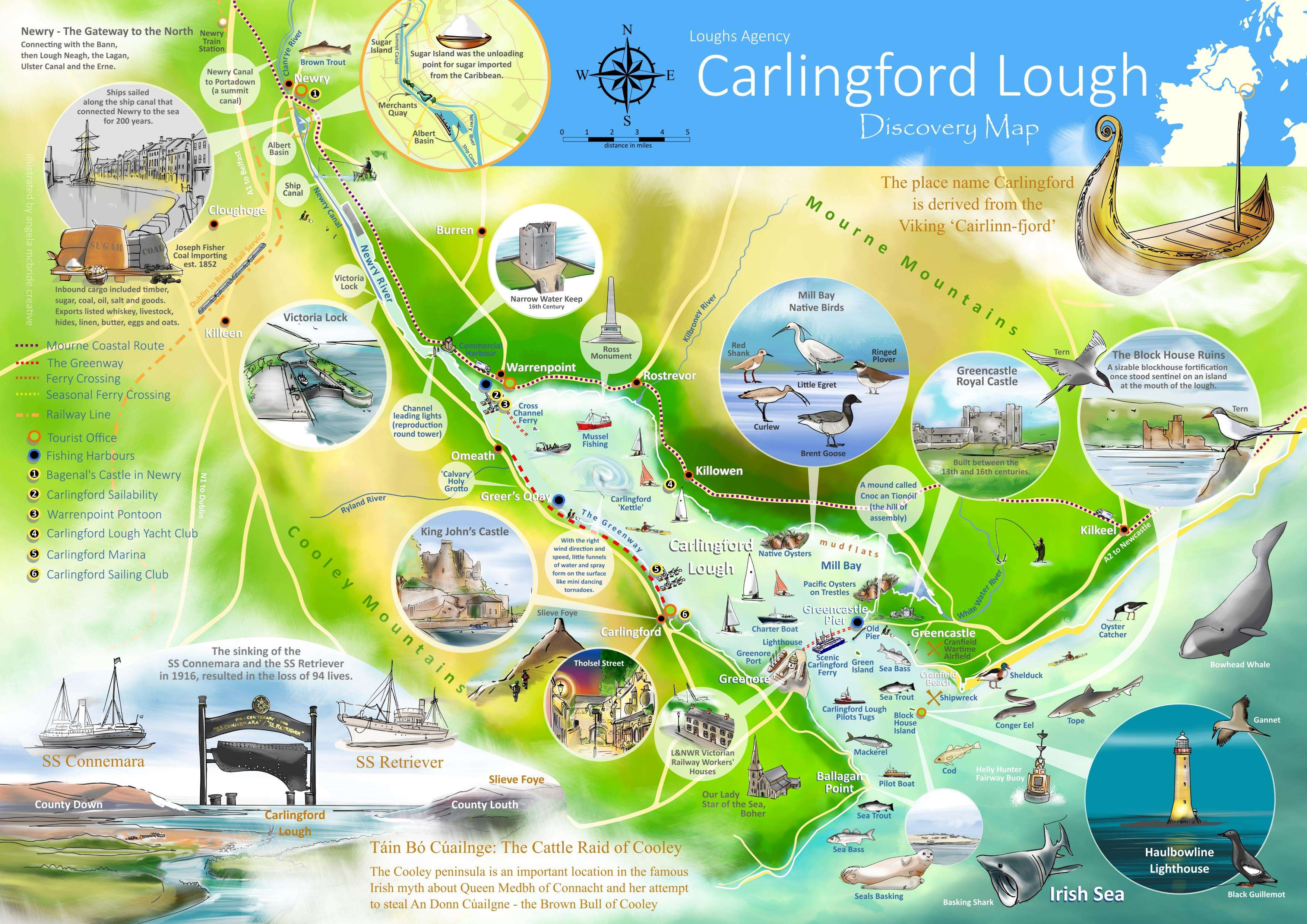 Marine Tourism map of Carlingford area
