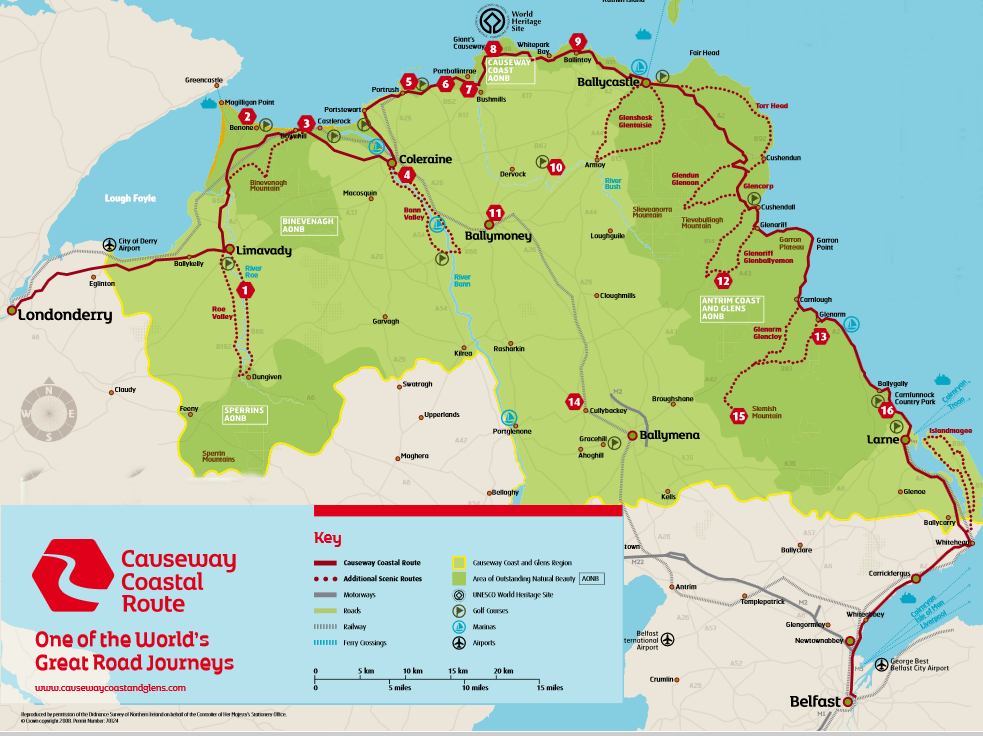 Map of the Causeway Coastal Route