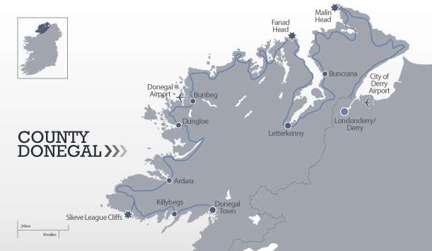 Map showing Northern section of the Wild Atlantic Way around the coast of Donegal from Donegal Town to Derry/Londonderry