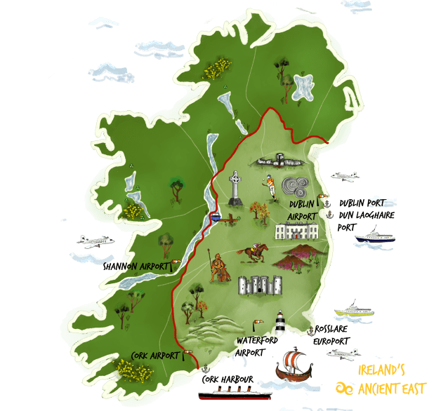 Map of Ireland's Ancient East with points of interest illustrated